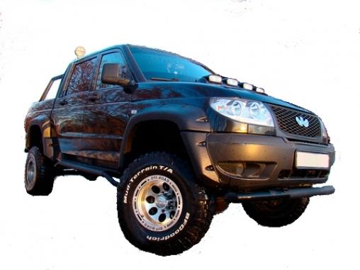 Расширители колёсных арок УАЗ Патриот пикап, кузов 23632 (с накладками на оба бампера)