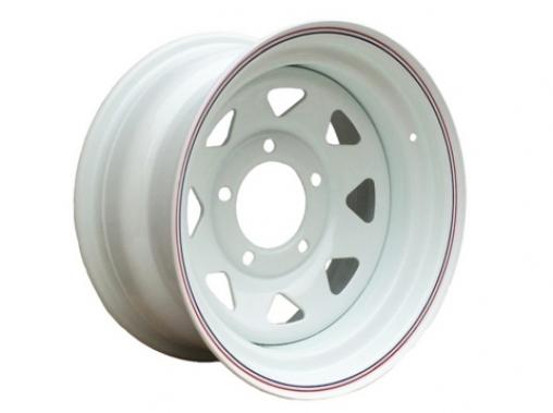 Диск колёсный стальной штампованный посадка 5x139.7 УАЗ размер 8х16 вылет ET 0, центральное отверстие D 110 цвет: белый.