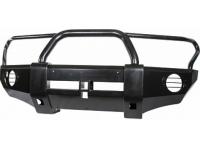 Накладка РИФ на передний бампер с квадратом под фаркоп и защитной дугой Mitsubishi L200 2005+